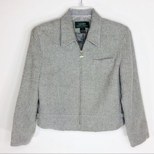 Lauren Ralph Lauren Gray Cropped Blazer Jacket